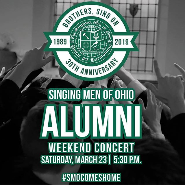 Our 30th Anniversary SMOmecoming Alumni Weekend Concert is this Saturday at 5:30p.m. in MemAud! Help us celebrate 30 years in song with all our current members and returning SMOlumni! #smocomeshome #SMO4Life