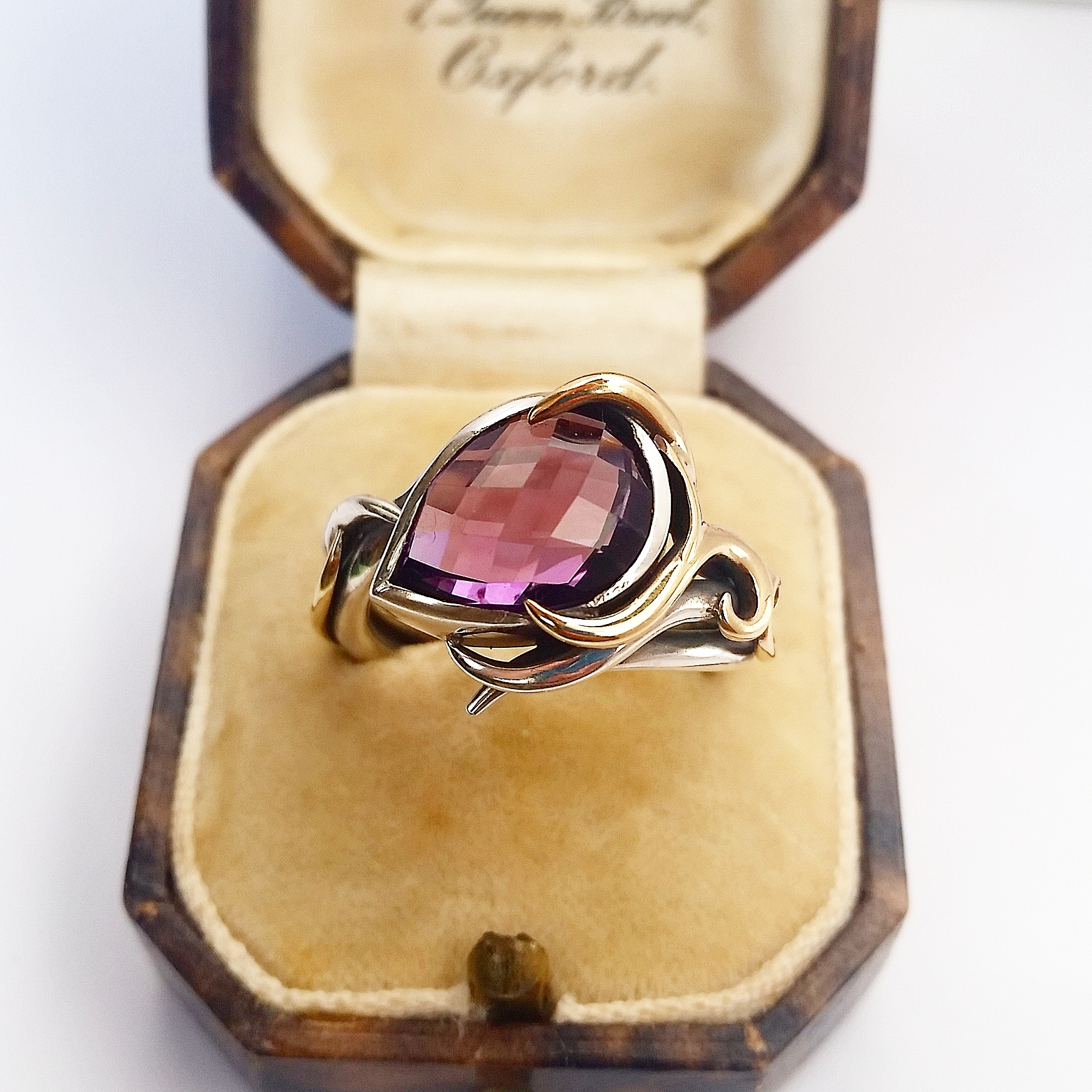Checkerboard cut purple amethyst ring