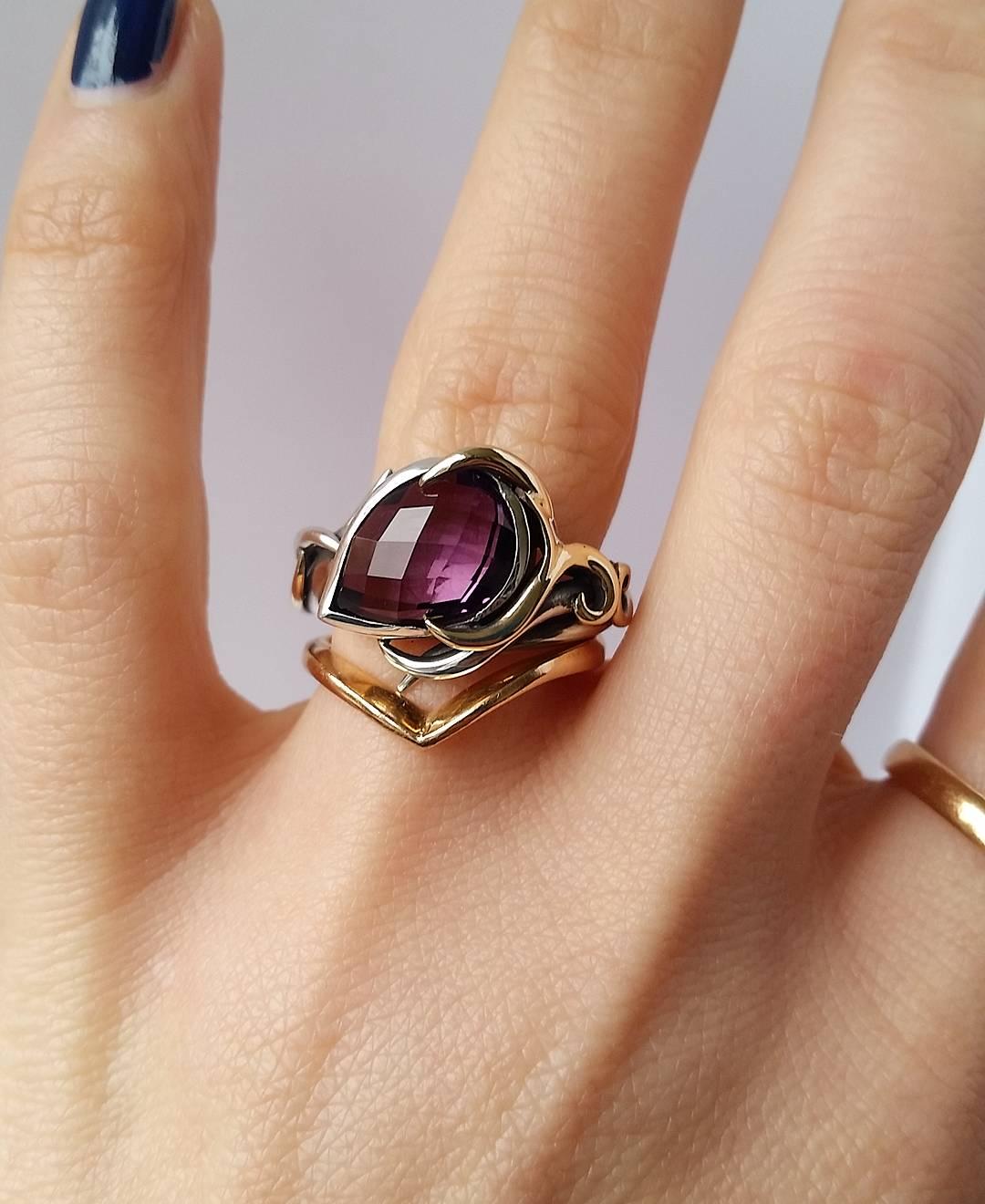 Purple Amethyst Ring Set