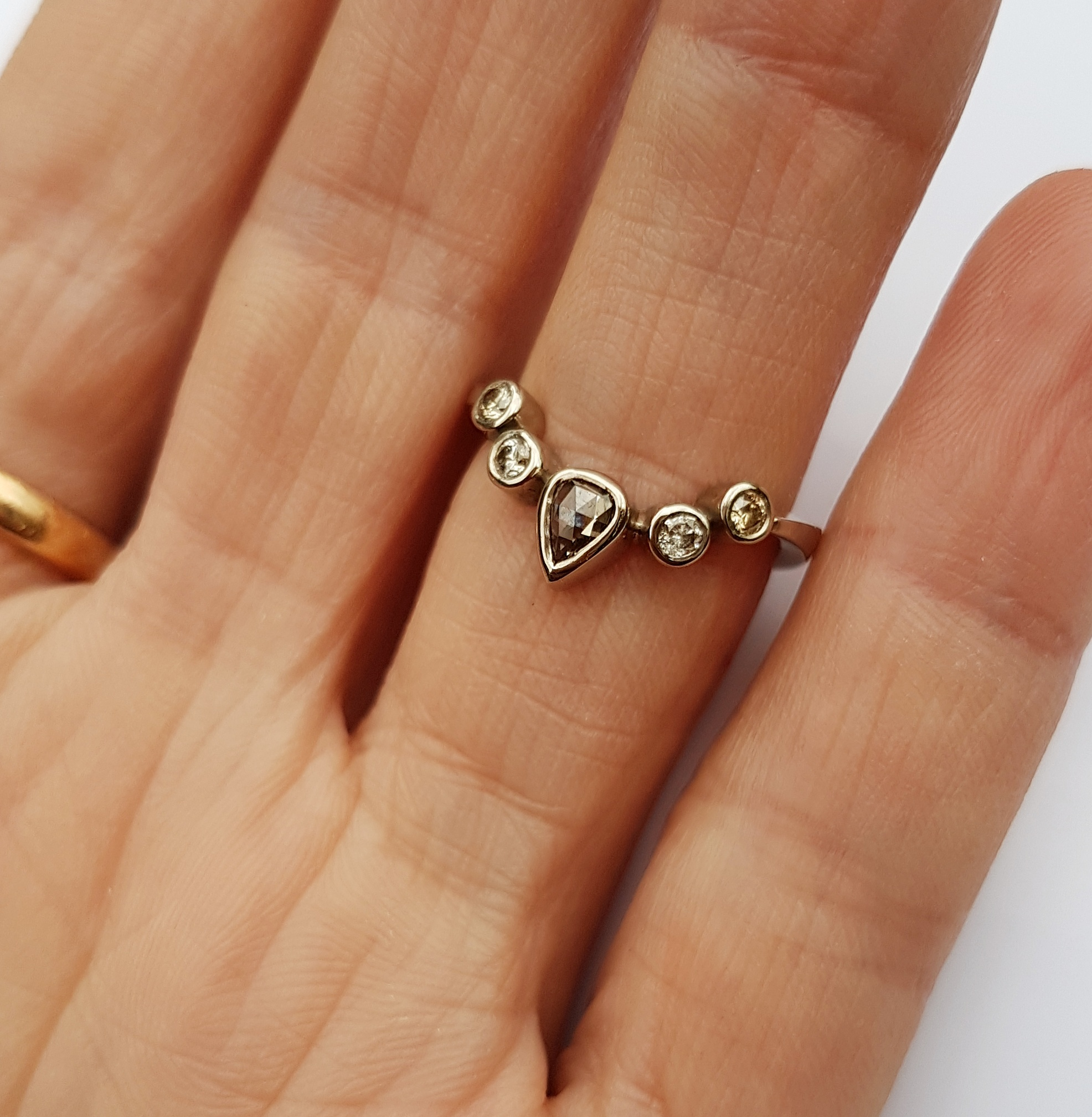 Gold Diamond Wishbone Ring