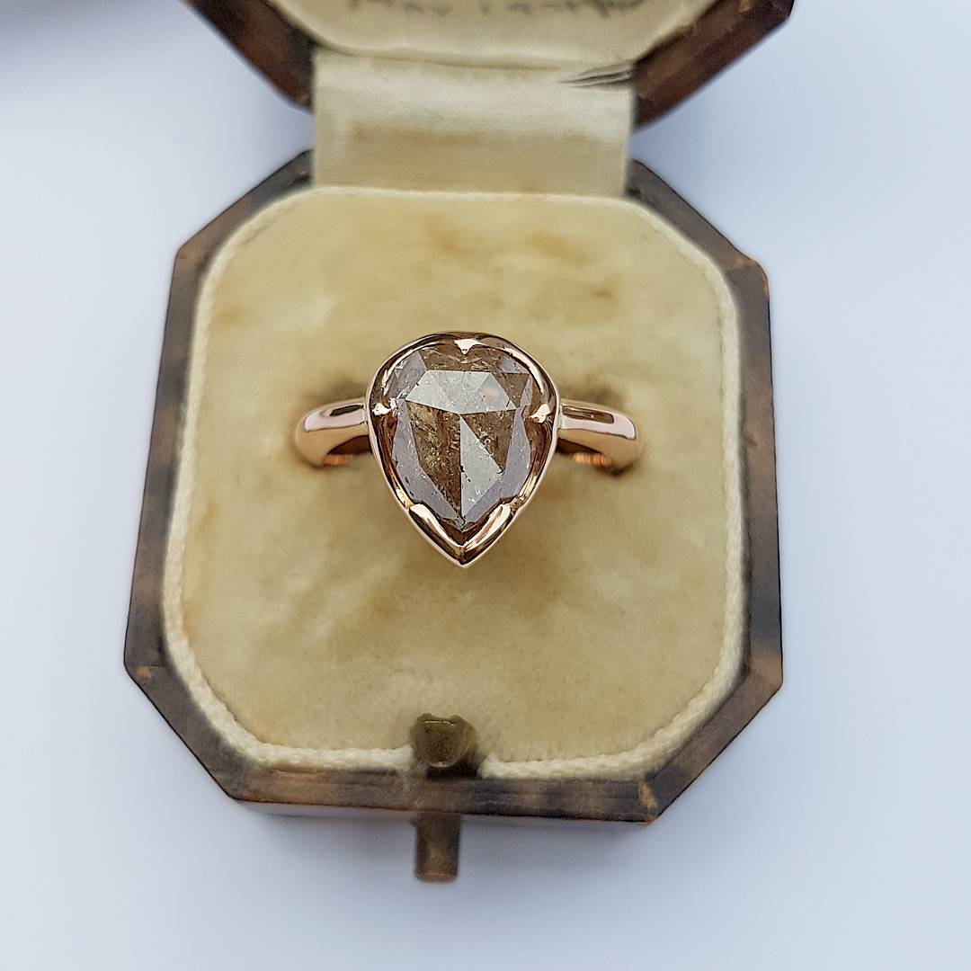 Peachy Pink Rose Cut Diamond Ring