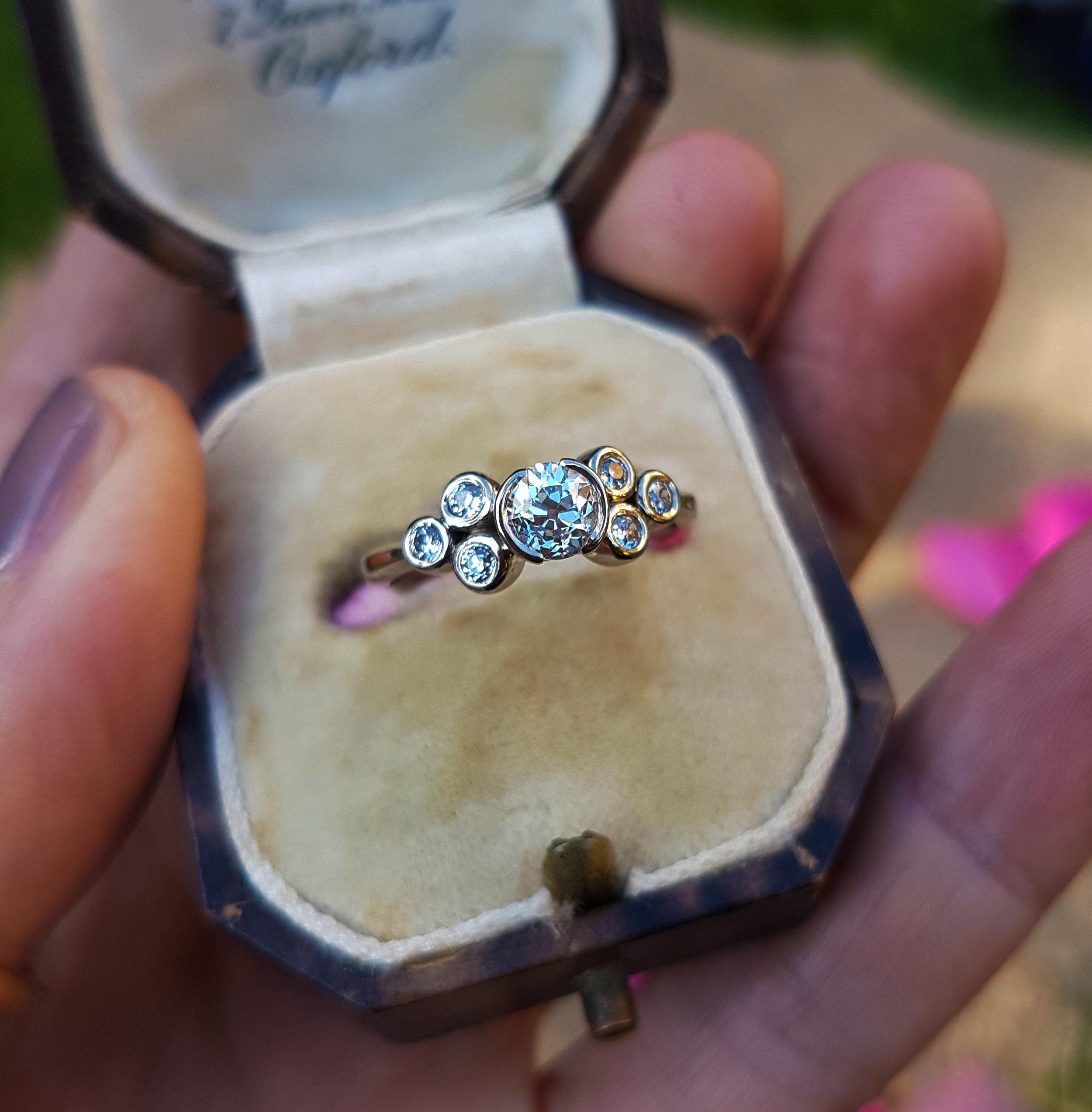 old mine cut diamond engagement ring