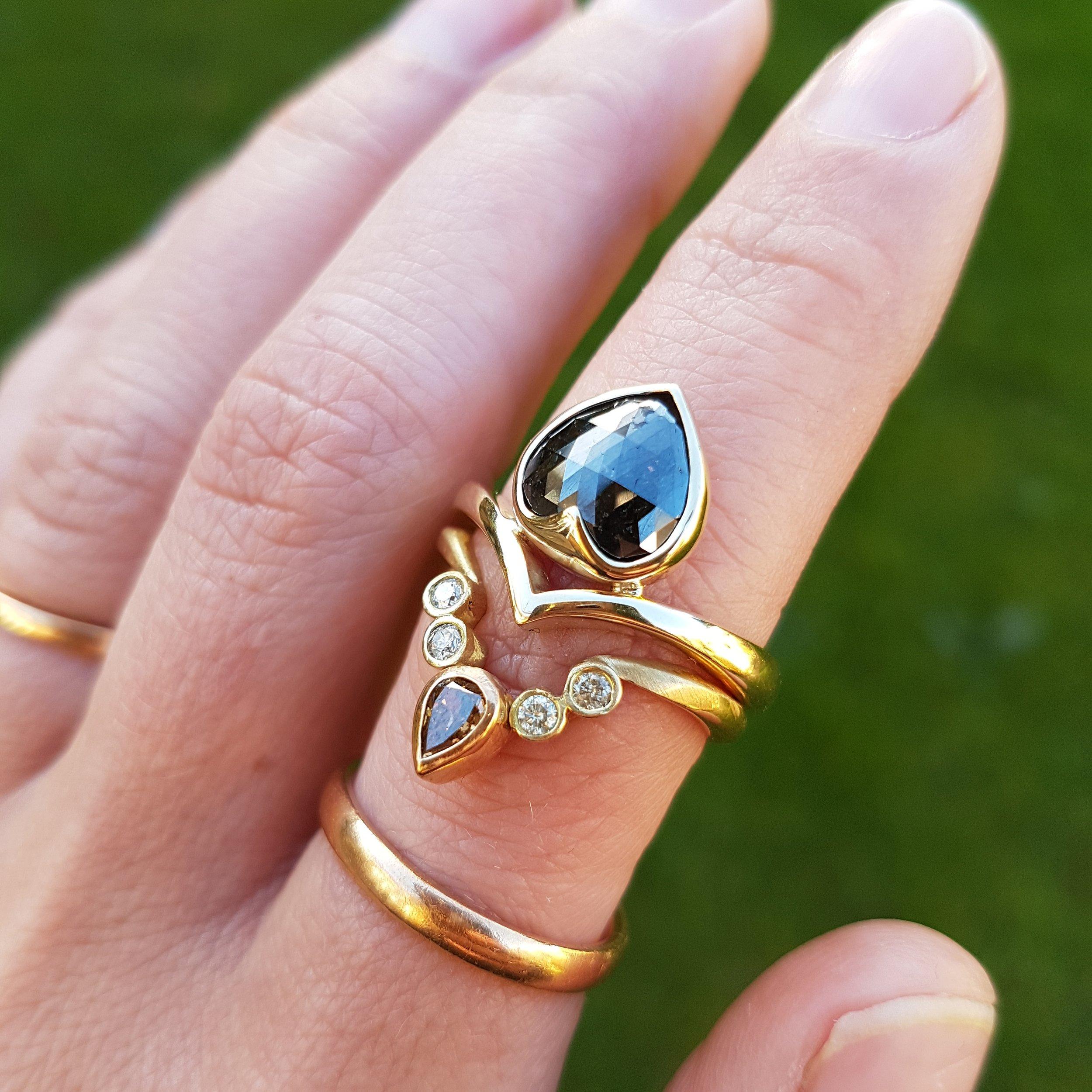 Black Diamond Ring Fran Barker Design