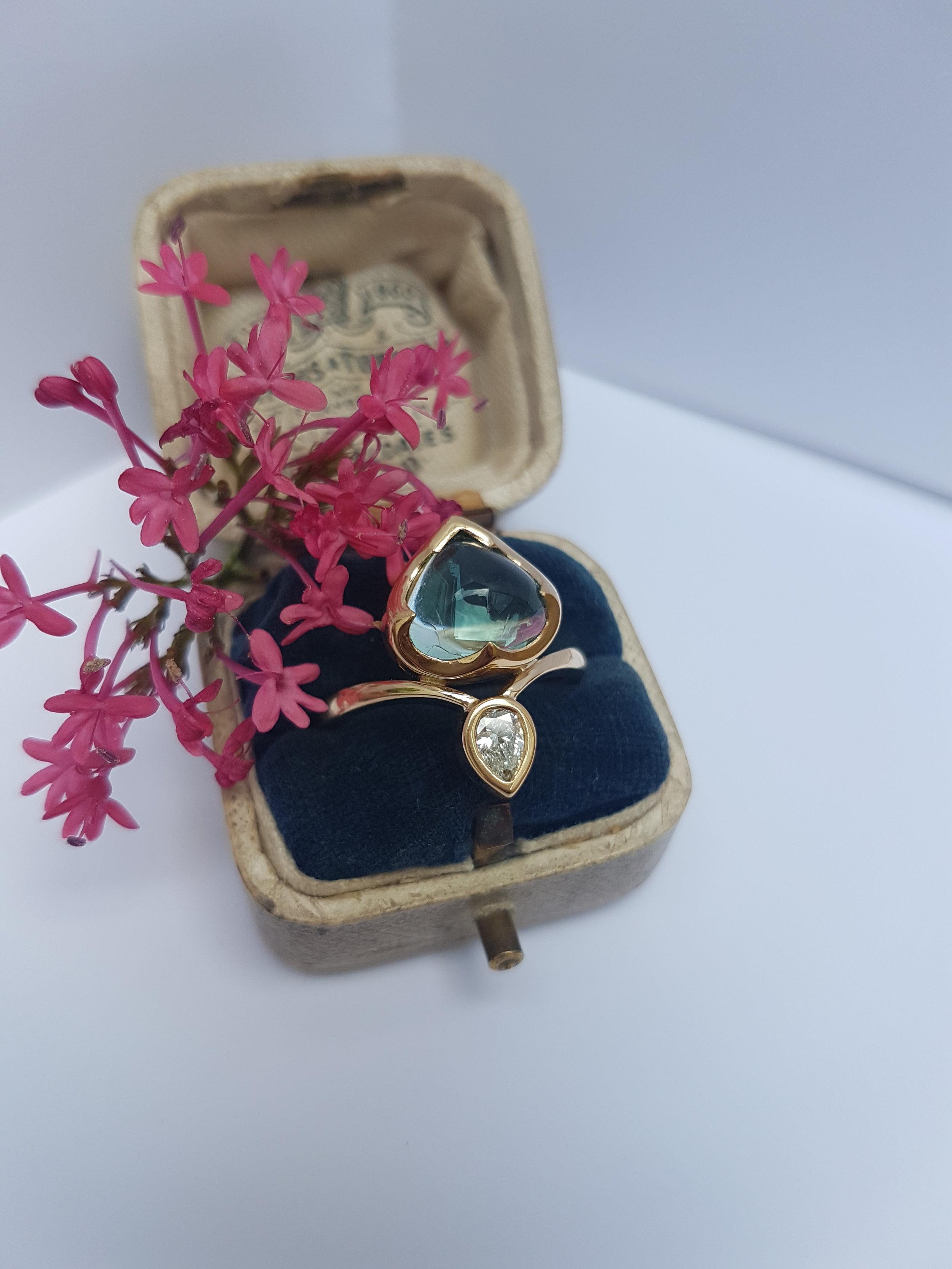 Green Tourmaline & Diamond Mimosa Ring