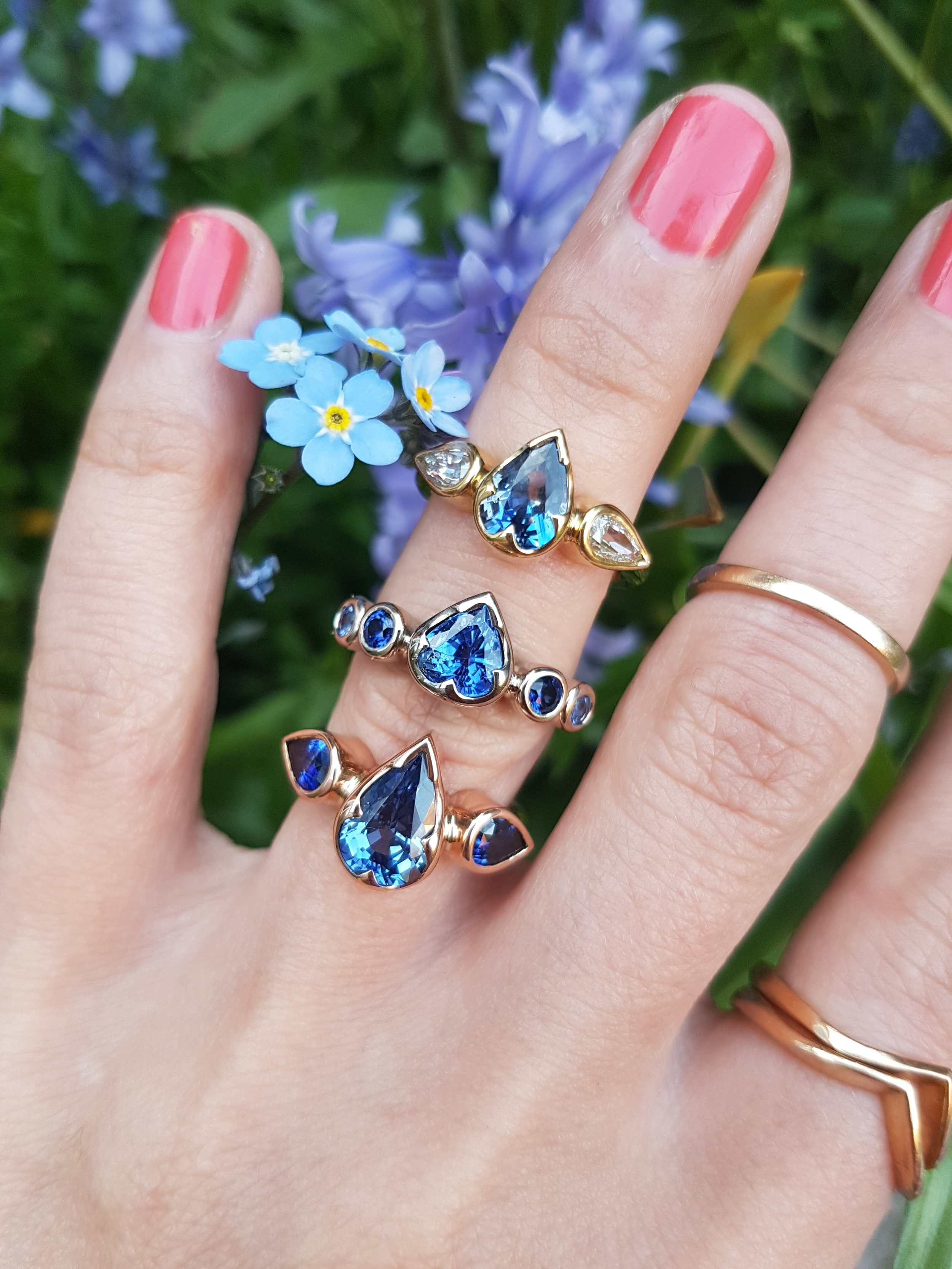 Sapphire Mimosa Rings by Fran Barker Design