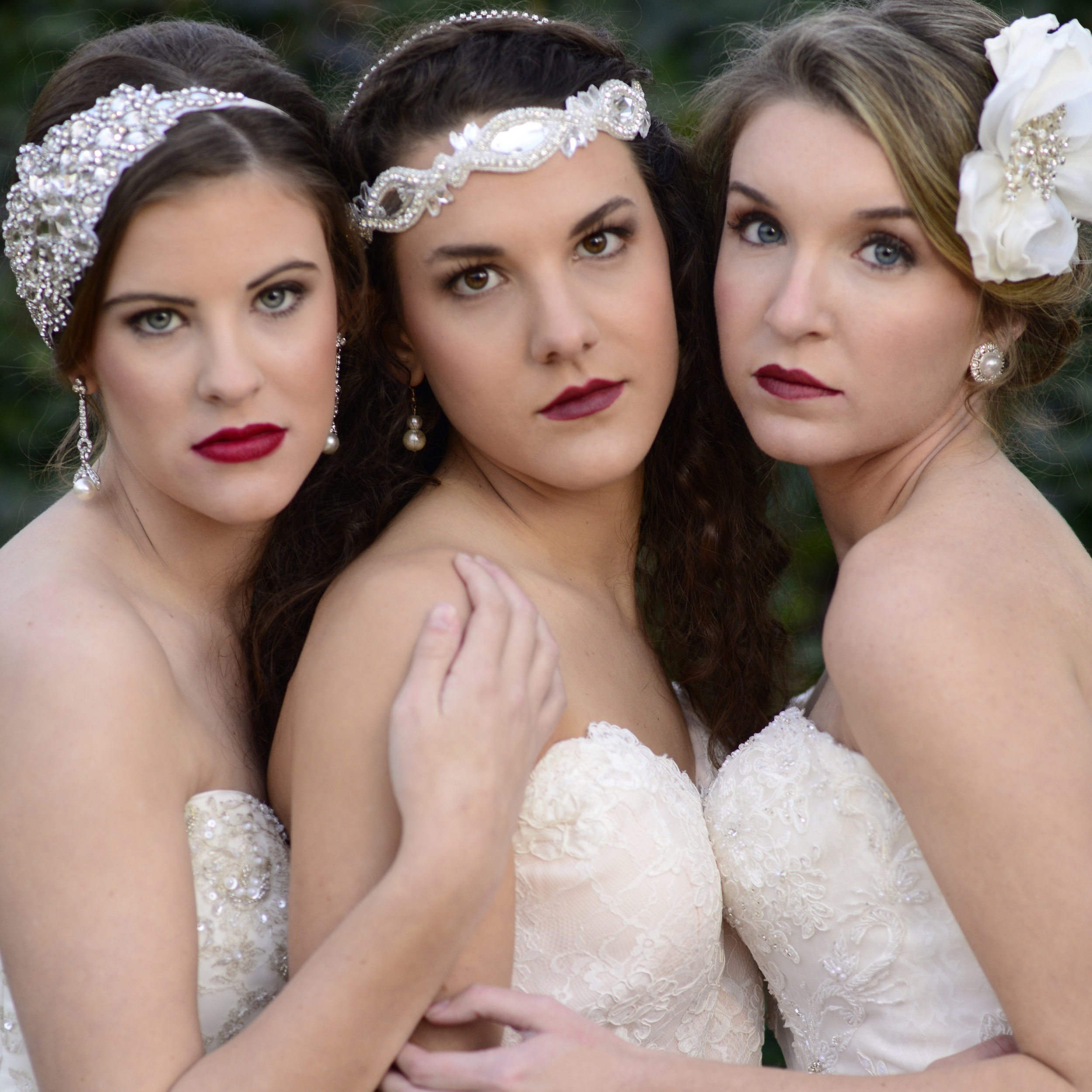 Modeling Bridal gowns and Vintage headbands by Voila Bridal of Greenwood SC.
