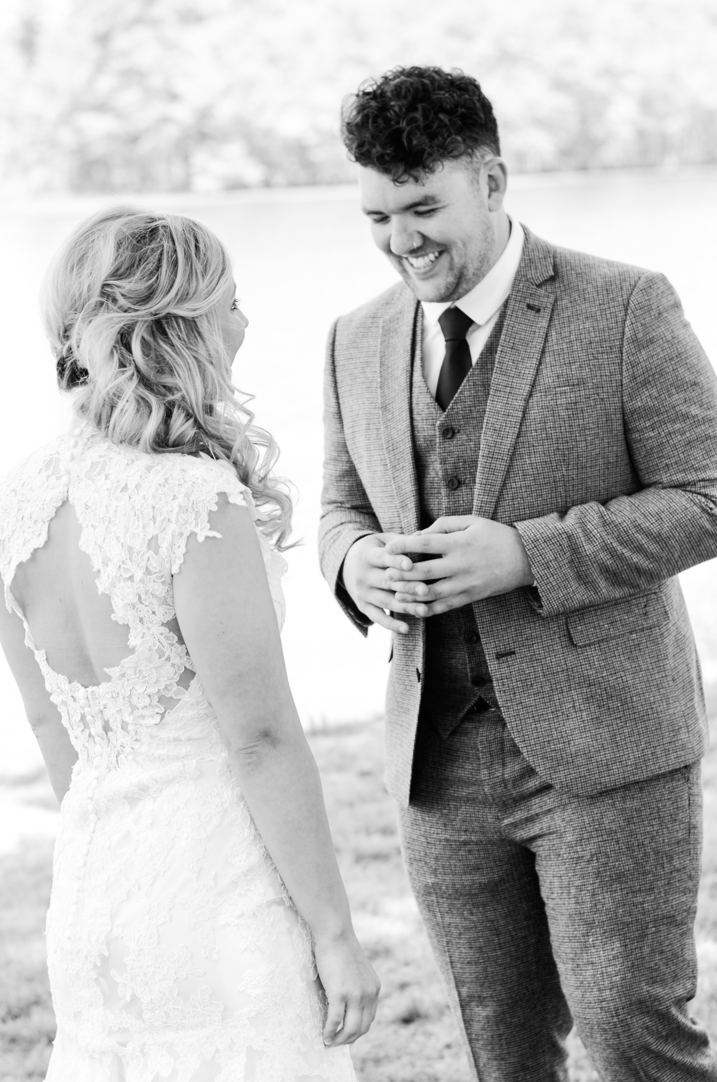 Loving this moment!  And Anna is rocking that side-swept hairstyle to show off her key hole back on that lace dress.