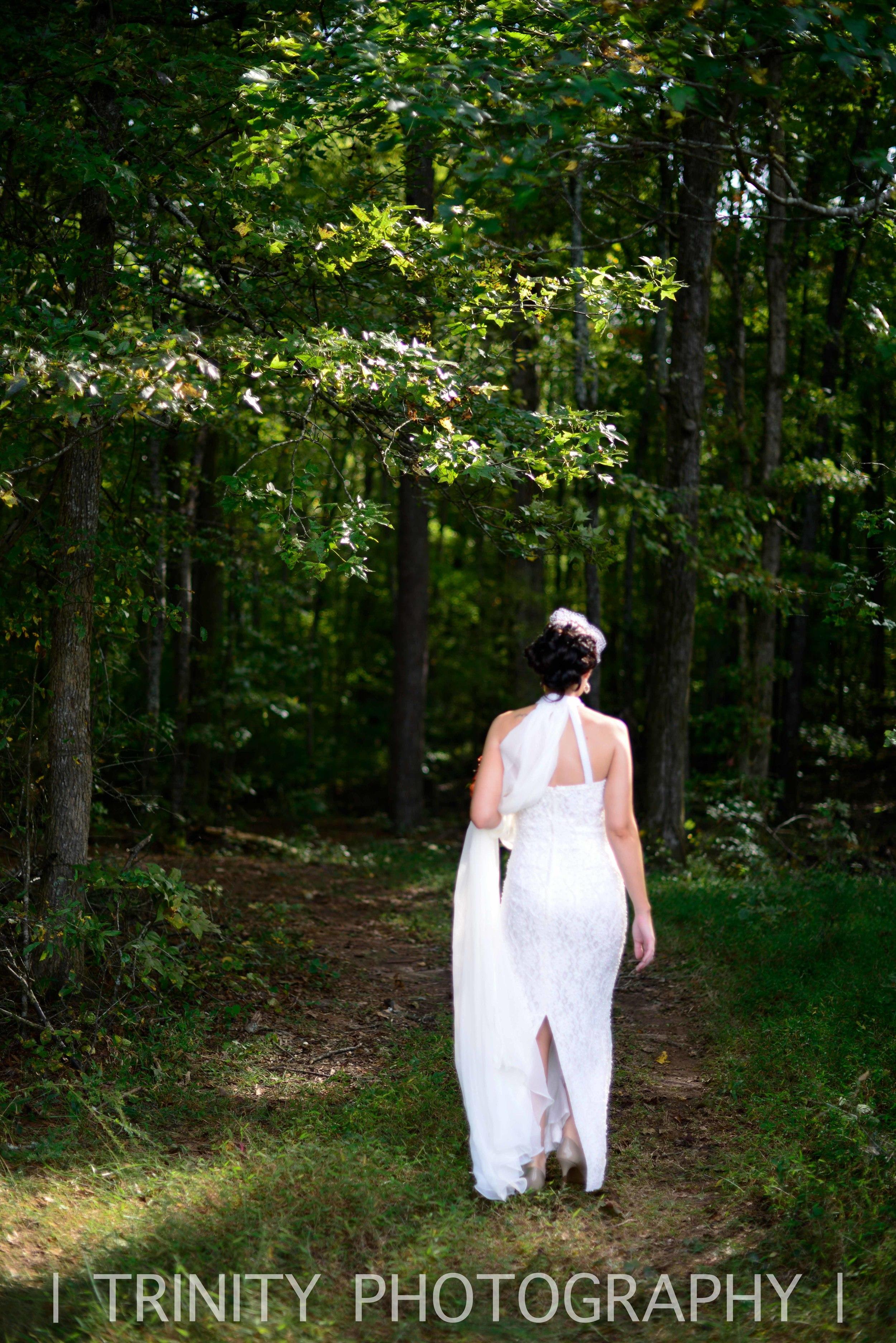 Walking to her Wedding in the Woods