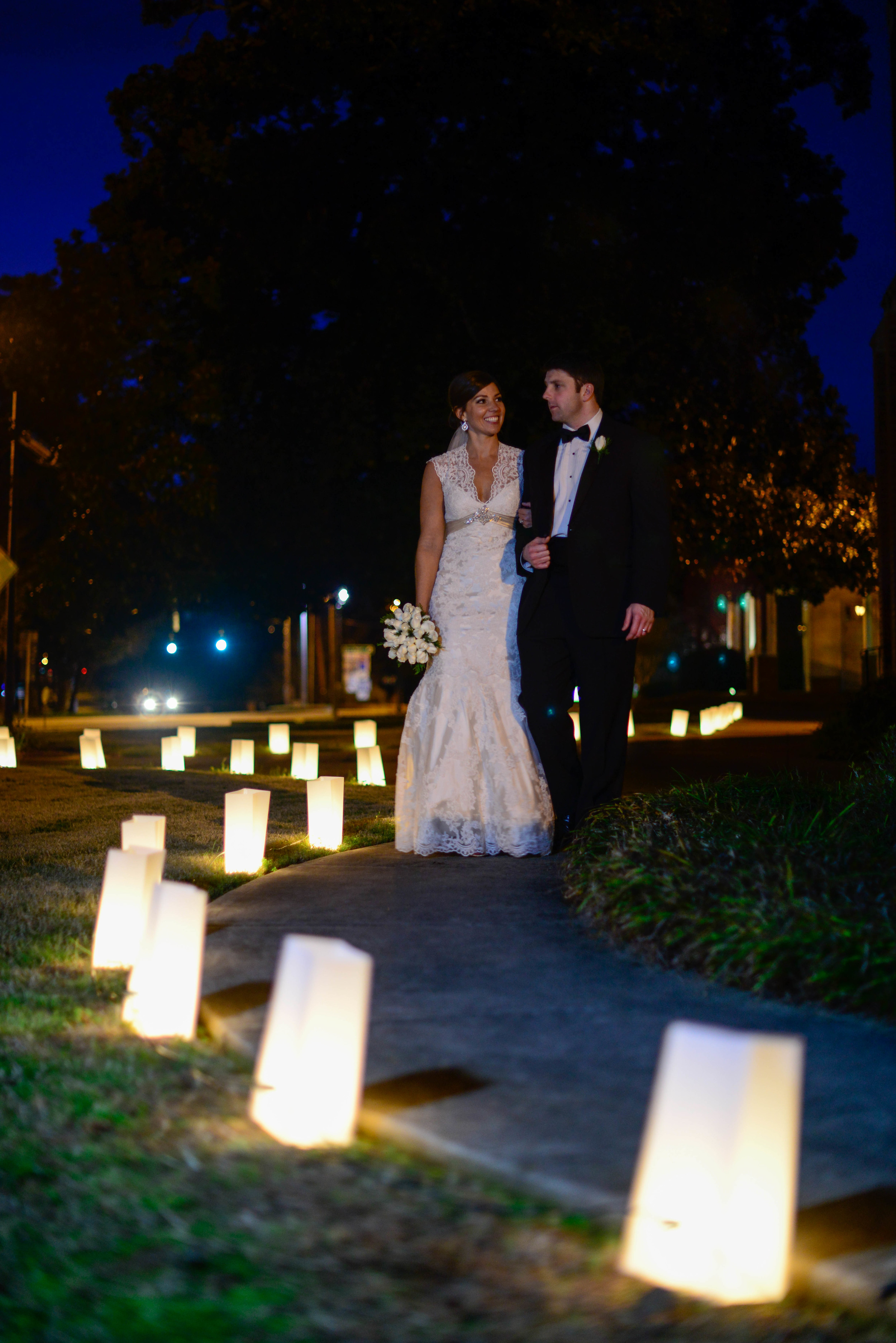 The lantern walkway leading into the church was a romantic touch for the evening of the Wedding.