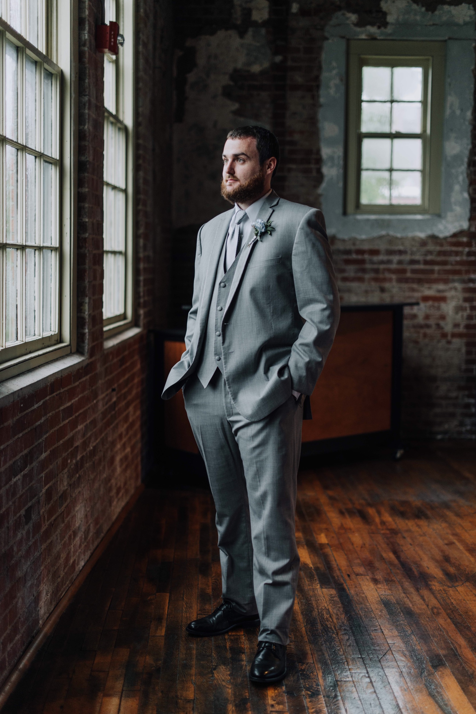 Grey suit small wedding