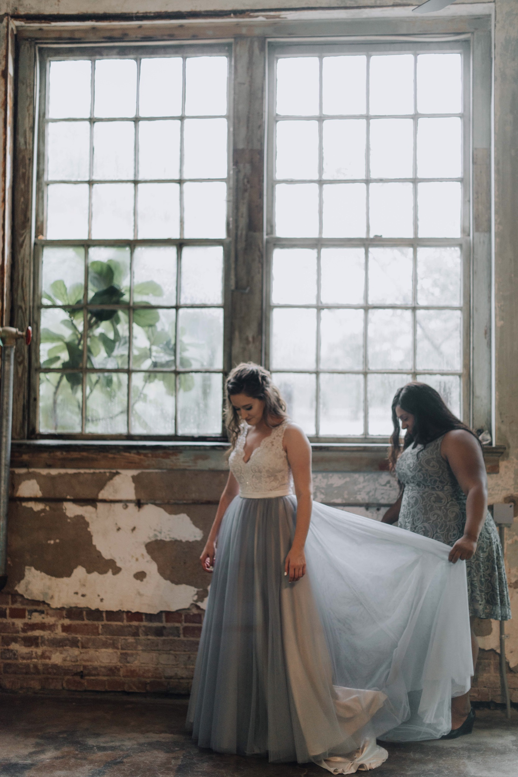 Blue dress intimate wedding