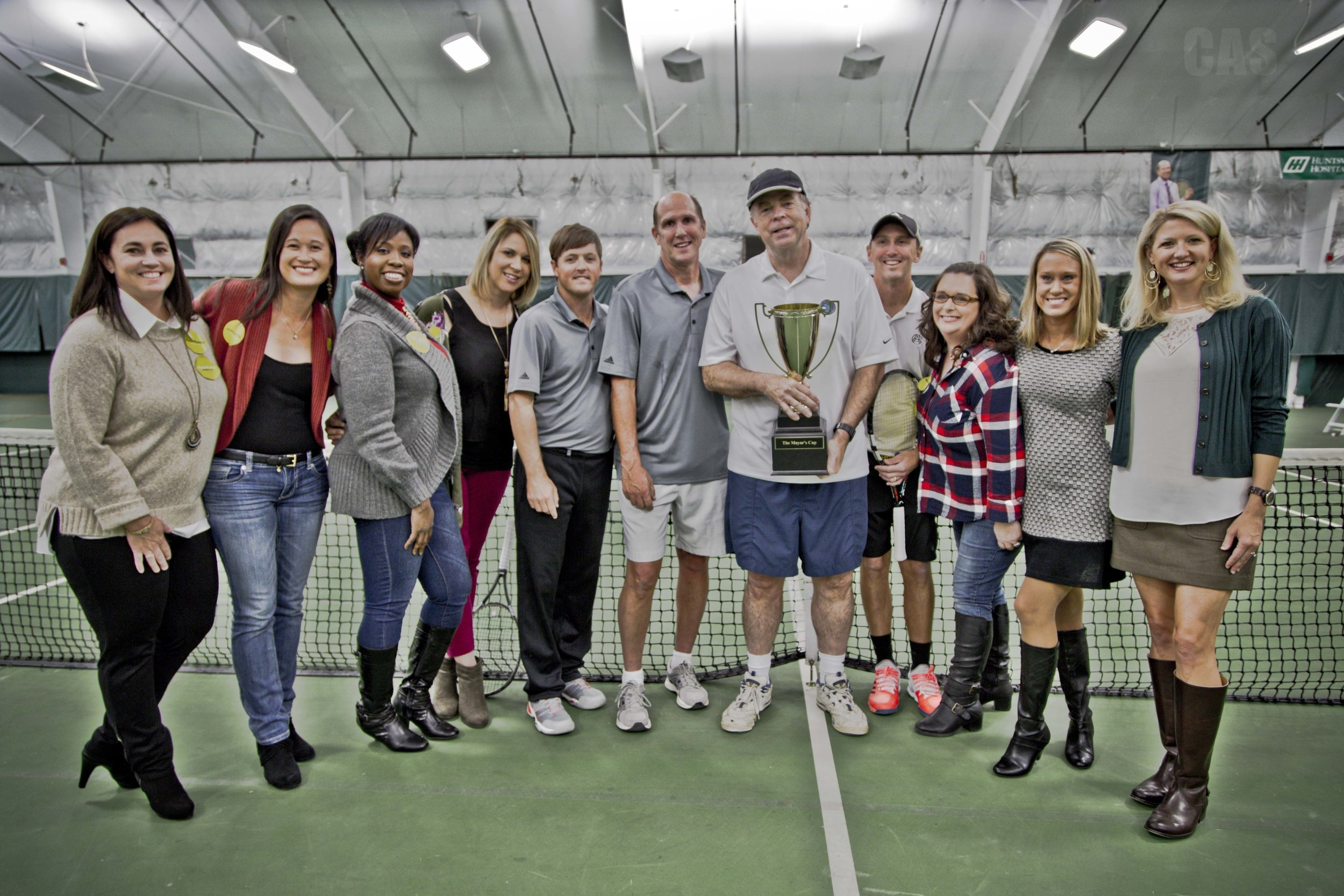 Susie's Wish Team and ACA tennis pros with winning Huntsville Mayor Tommy Battle and Madison Mayor Paul Finley. Finley says he'll be back to take on Battle again next year!