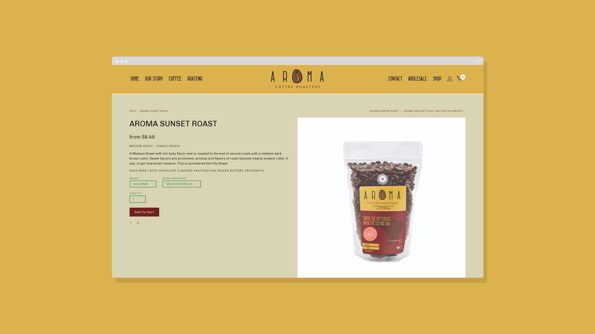 Aroma Coffee Raosters Sunset Roast