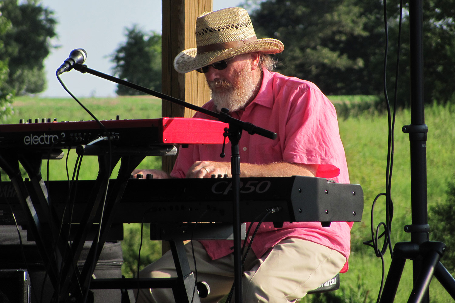 Photo of Dave Fox, aka, Dr. Drave, performing with Andrea Templon & Friends at The Grove Winery's Jazz Festival.