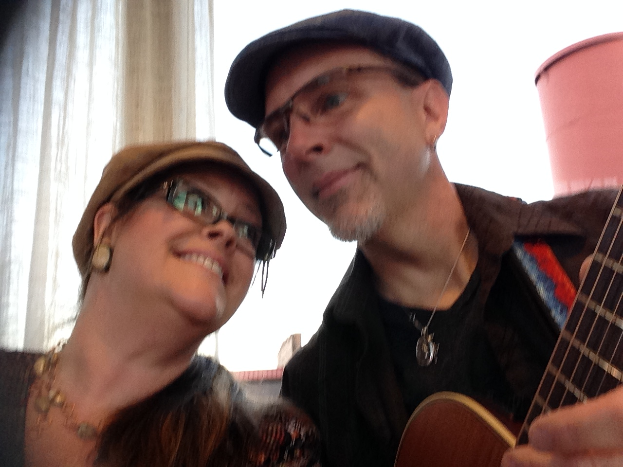 "Andrea Templon and Chris Templon perform as ""strolling minstrels"" at the annual High Point Furniture Market, High Point, North Carolina"