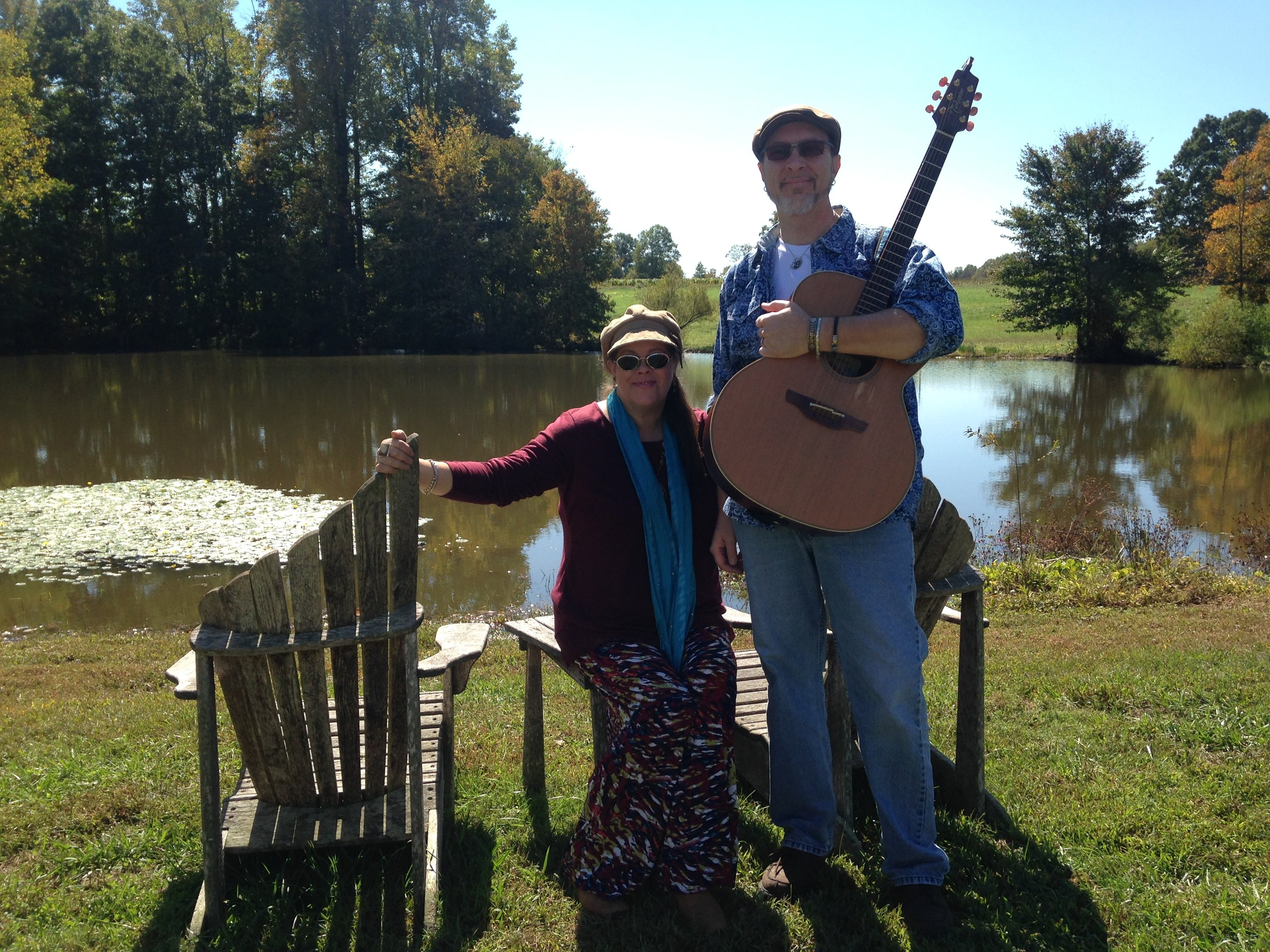 Andrea Templon and Chris Templon pose for a picture during a break. They performed as a duo at The Grove Winery, Gibsonville, North Carolina for their Fall Food Truck Festival!