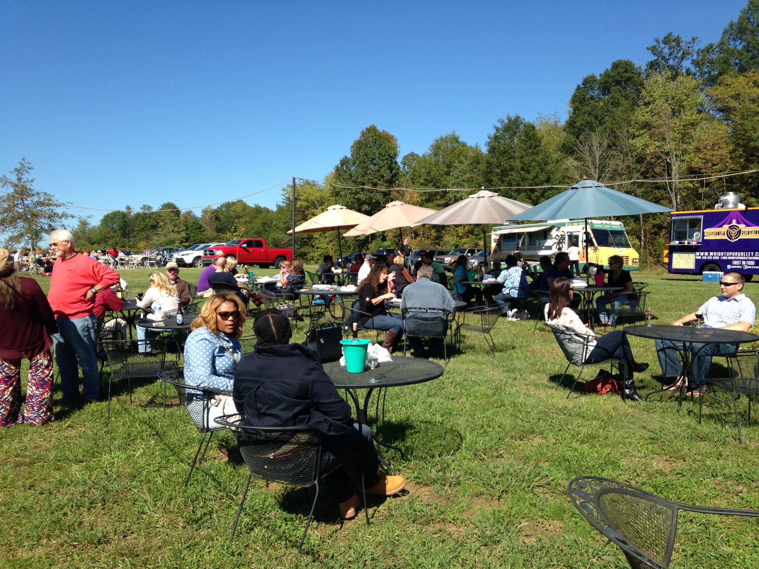 Photo of the patrons having a great day at the Fall Food Truck Festival in The Grove Winery and Vineyard,Gibsonville, North Carolina. Andrea took this photo from the stage.