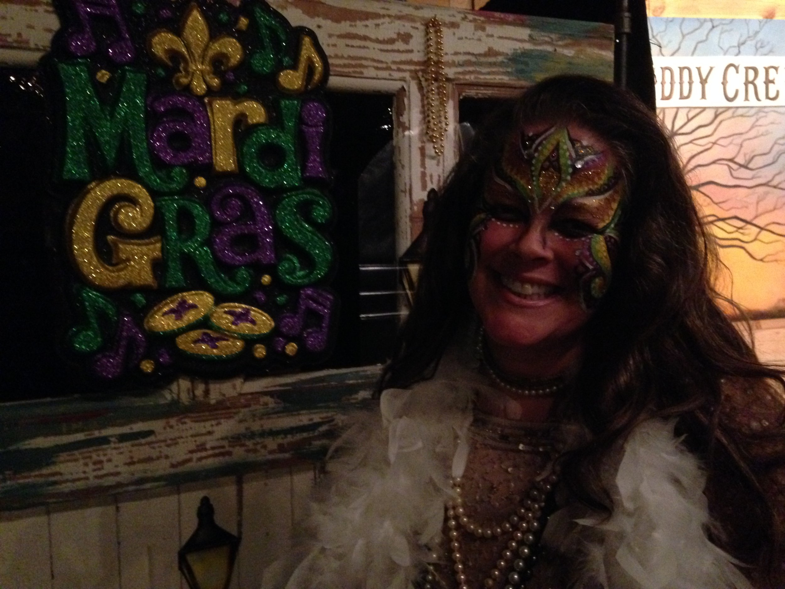Andrea Templon beaming after a fun show for Mardi Gras at the Muddy Creek Music Hall, Bethania, North Carolina