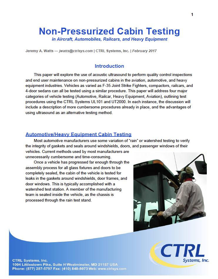 Non-Pressurized Vessel Testing - Using an Ultrasound Listening Device (ULD) and Ultrasonic Transmitter to leak test non-pressurized spaces.