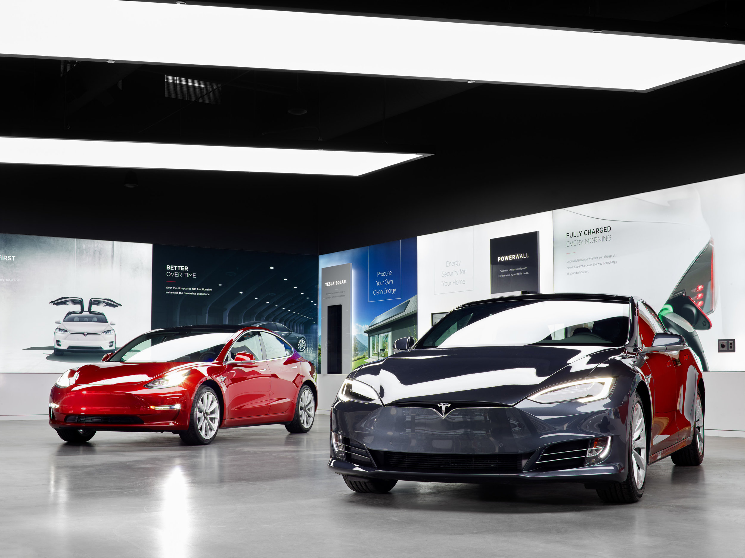 Tesla cars in chic