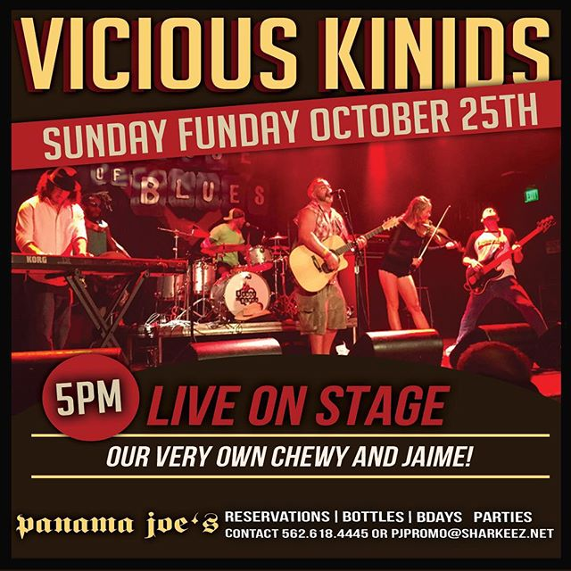 Today, 5pm, Panama Joe's in Belmont shore. Plus special guest Matt Hopper! Come get your Sunday Funday on! #viciouskinids #matthopper #sundayfunday #gabrielsayswehavetohashtag #takeoffyourshirt