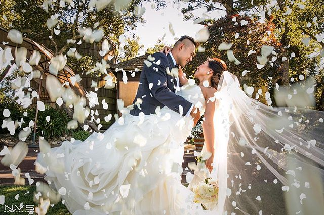 Love this picture captured by @nvsphotography from Jill and David's wedding on August 12th! This picture screams romance!  #nvsphotography #wedding #weddingphotography #bayareawedding #love #happiness #petals #flowers