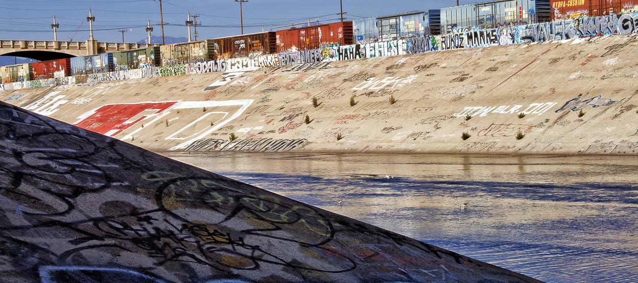 Graffiti under the 6th St Bridge, Stop on Folar's tour of the LA River, Los Angeles, California, USA