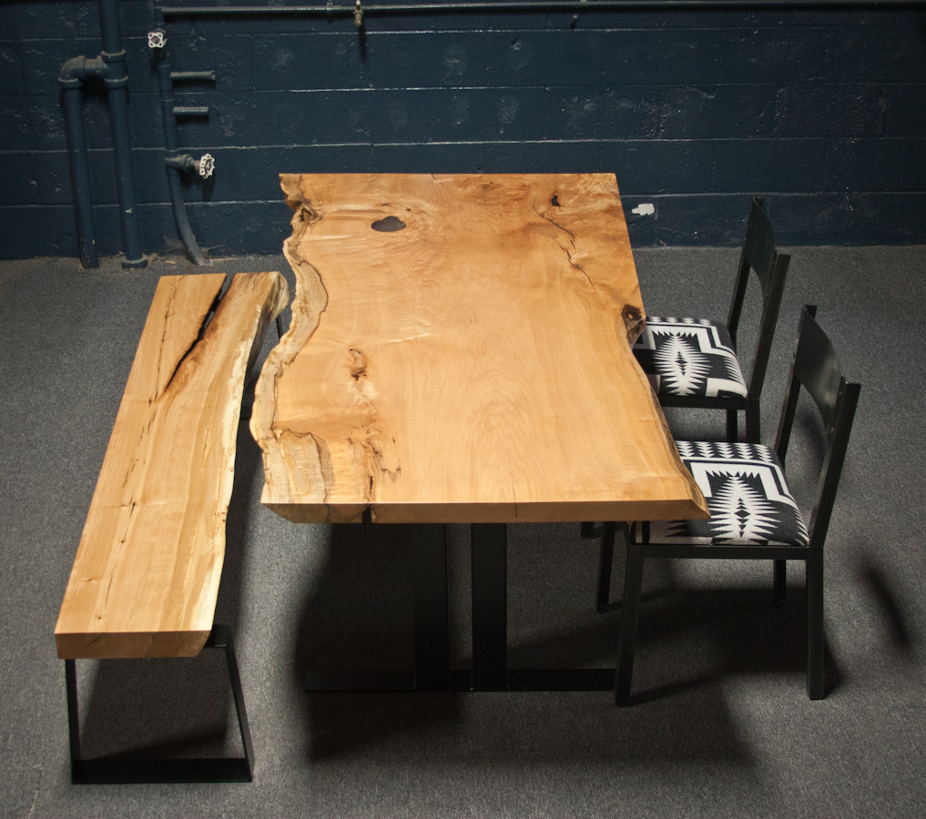 WESTERN MAPLE BENCH AND DINING TABLE