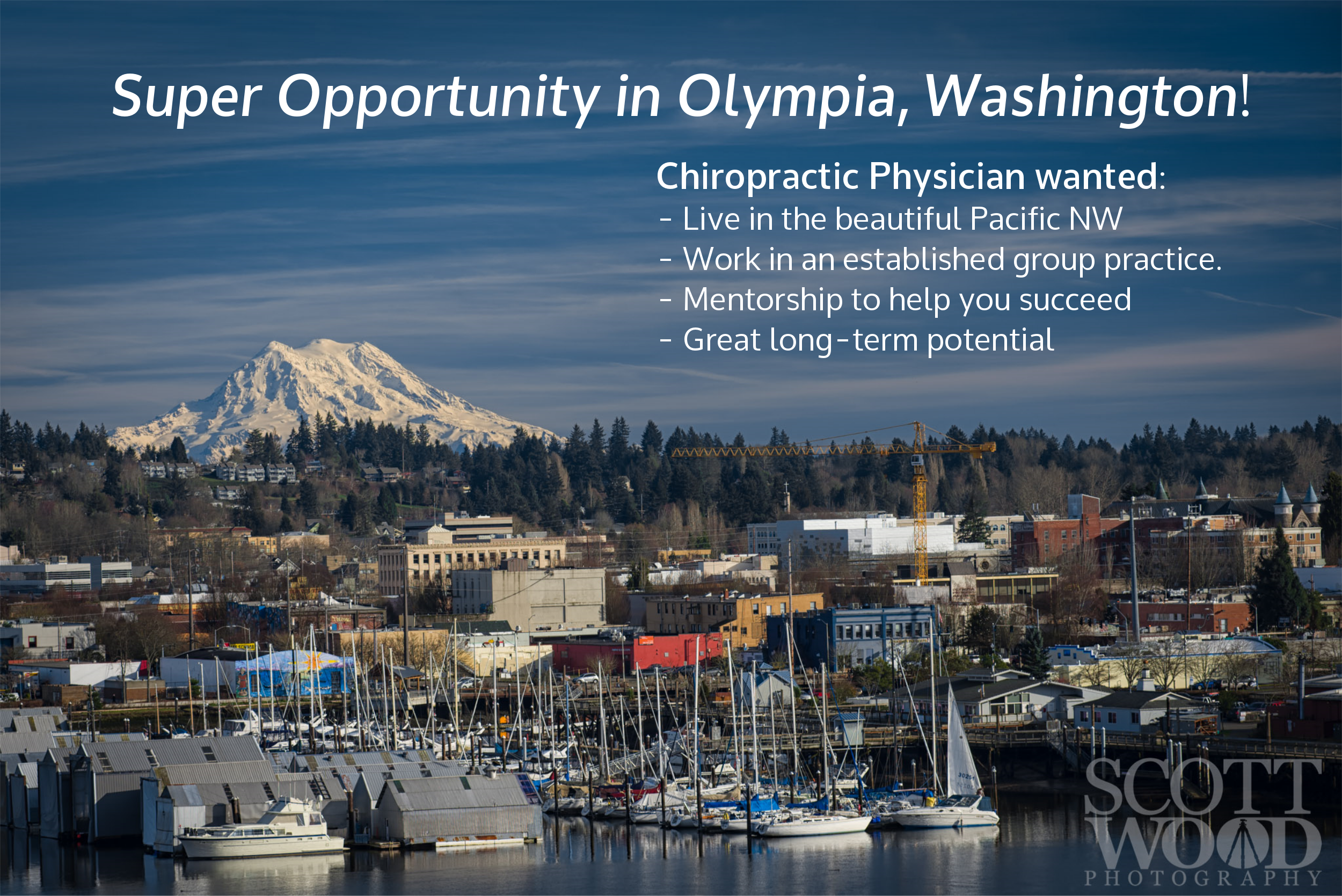 Forward-thinking, evidence-based, ethical group practice looking for an associate. Join our busy well established multi-specialty practice, in beautiful Olympia, Washington. We are looking for a hard-working, team-oriented chiropractic physician. We provide everything you need to be successful and you will have the freedom to practice how you want. This is a great opportunity for someone just starting into practice, or an established doctor who is tired of running their own business.   Email CV to Kelly@TumwaterChiroCenter.com   ______________________________________________________________________________________________________________________