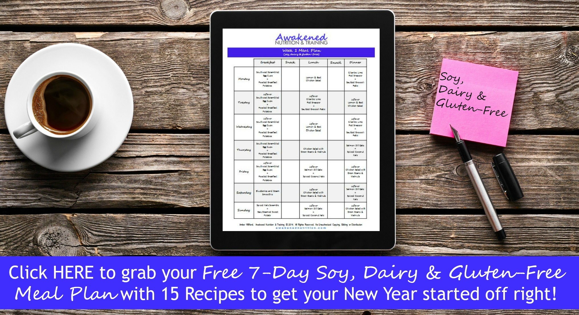 Day Soy, dairy and gluten free meal plan