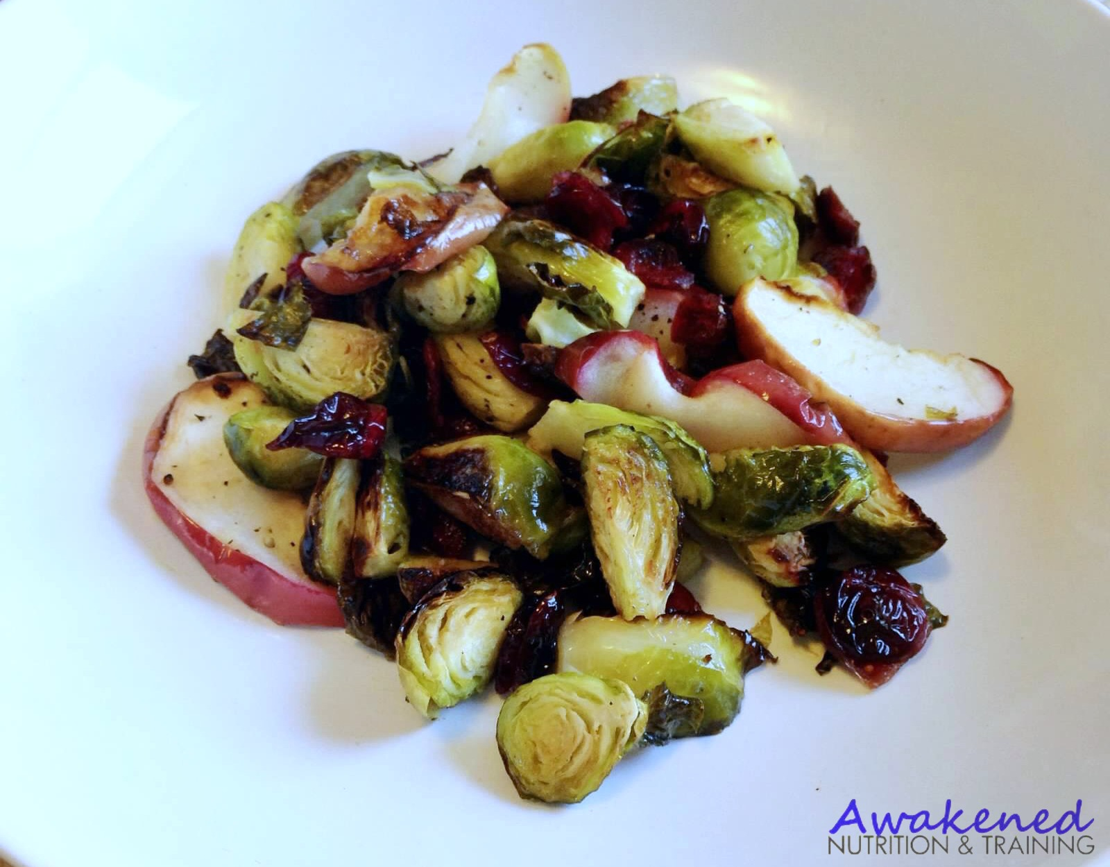 Oven Roasted Cranberry Apple Brussels Sprouts