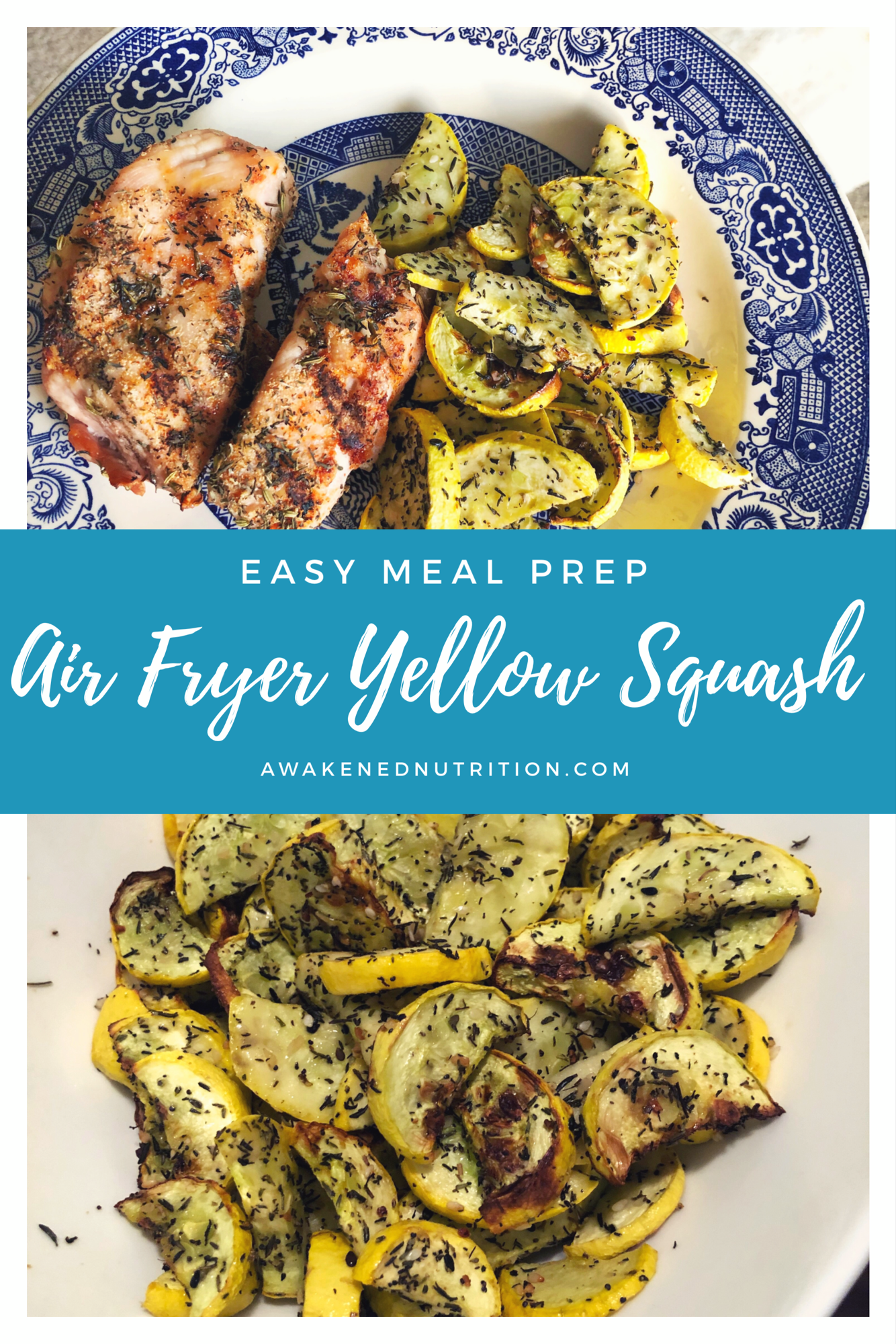Easy Meal Prep: Air Fryer Roasted Yellow Squash. This recipe is so easy to make for a healthy meal prep idea or as a healthy side dish for dinner. #airfryerrecipe #airfryersidedish
