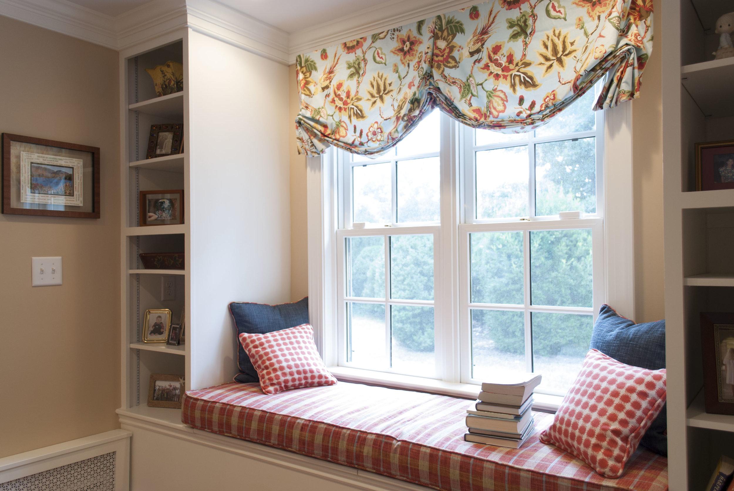 "A custom window seat we call a ""book nook"""