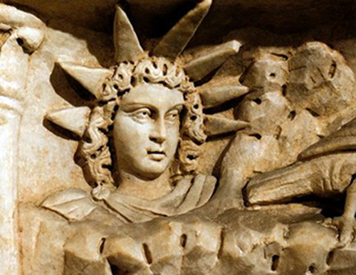 Mitra Persian Sun Goddess of Iran Ancient Wall Carving.jpg