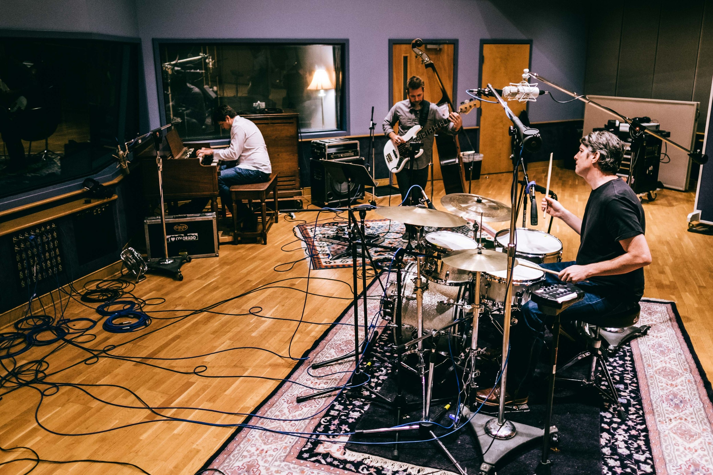 Live recording at the studio. Jason Shannon, Jeremy Gilbertson, Vic Stafford.