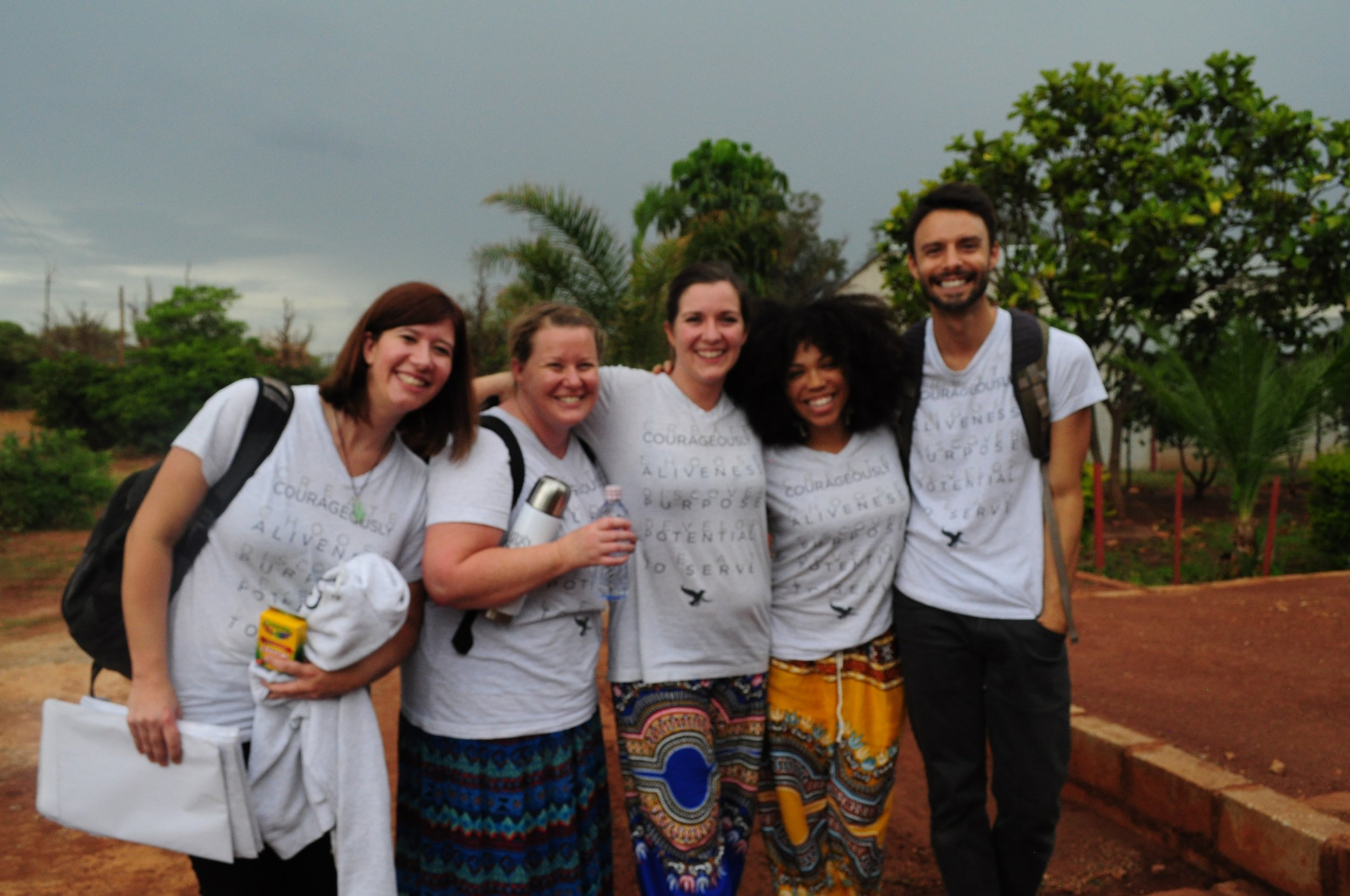 Emily Hathway, Erica Eyer, Megan Gilmore, Bria McCarty and Levi Huffman finishing up a day of training 28 educational coaches in the Chilanga district of Lusaka, Zambia.
