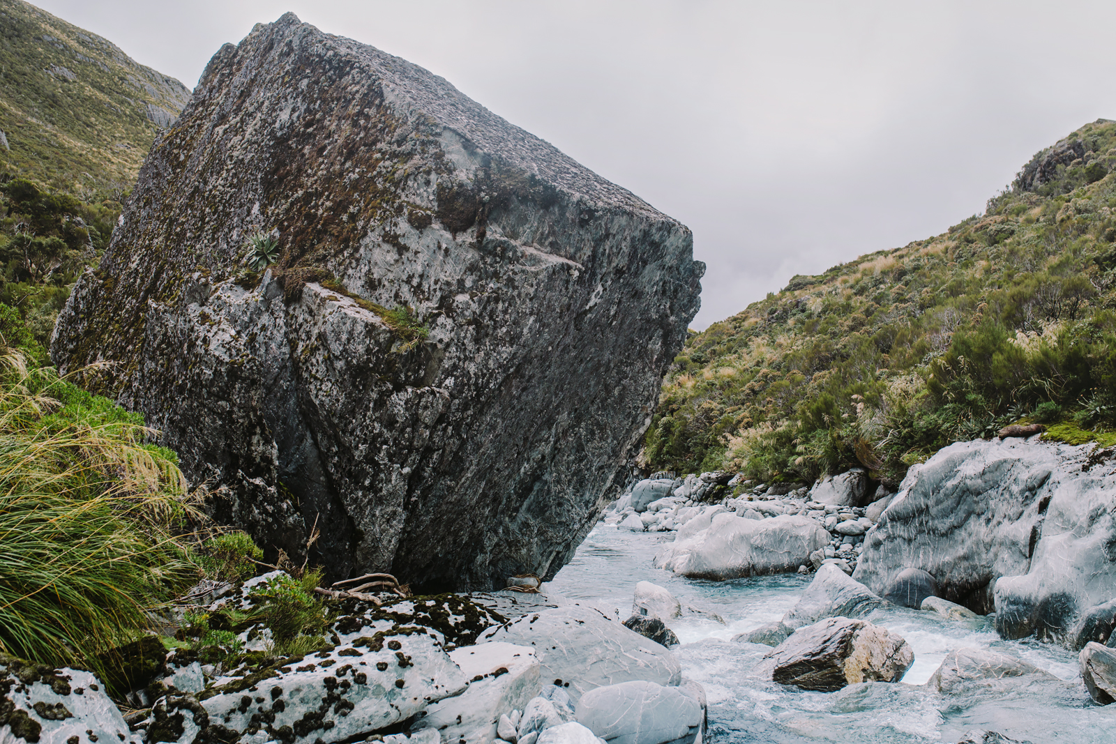 Your classic, house-sized Hokitika River boulder