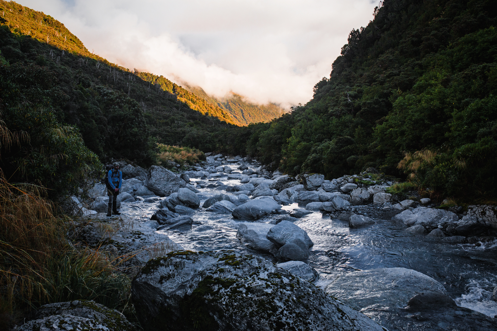 On the homeward stretch. The Toaroha, just downstream from Top Toaroha Hut.