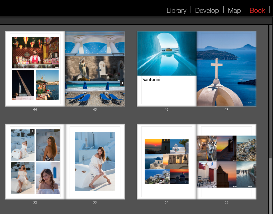 Multi Page View in the Book Module of Adobe Lightroom.