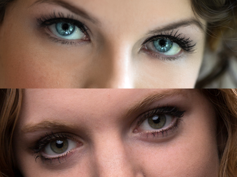 The top image is window light and hand-held with Image Stabilization turned on. The bottom image is in the studio on a tripod and the Image Stabilization was accidentally left on. The eye lashes are not nearly as sharp as in the hand held image.