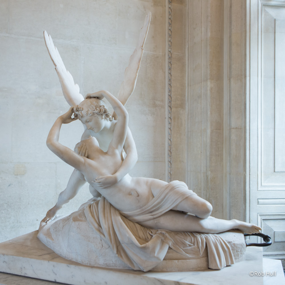 Psyche Revived by Cupid's Kiss is a sculpture by Antonio Canova and is on display in the Louvre in Paris. I loved this sculpture and wanted a nice photo but the crowds in the Louvre can be overwhelming.  I waited until very late in the day and then went back to this gallery when the crowds thinned out and was able to get this image.