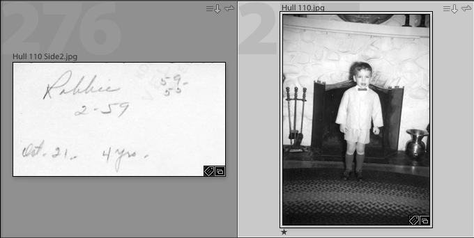 When scanning prints, I would also scan the back of the print if there was any identifying information. But for you family historians, be aware that what is written on the back is only as good as the memory of the person writing it. We found several with inaccurate information. There were photos of me dated two years before I was born.