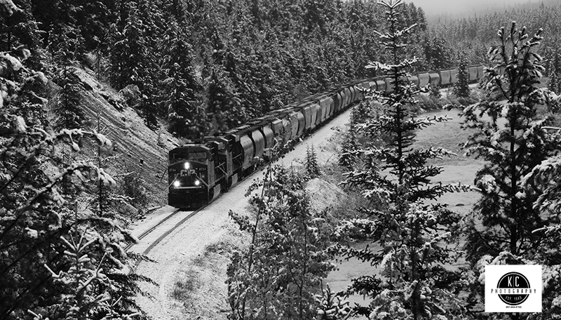 Photograph by Kip Cothran - shot B&W in camera. This is from Morant's Curve in Banff National Park.