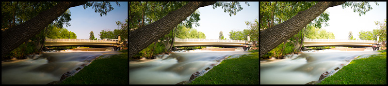 Here is a set of three images shot of Boulder Creek. In post processing, I can use an HDR tool to merge the images together to create one high dynamic range image.