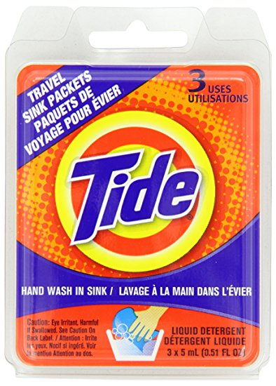 You can get laundry detergent in single use pouches. Great for extended trips.