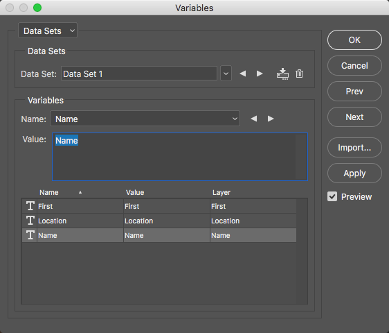 Use the Define Sets dialog to Import your data file