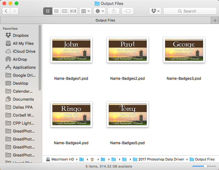 Once exported, all your files will be placed in the folder you indicated as individual .psd files.
