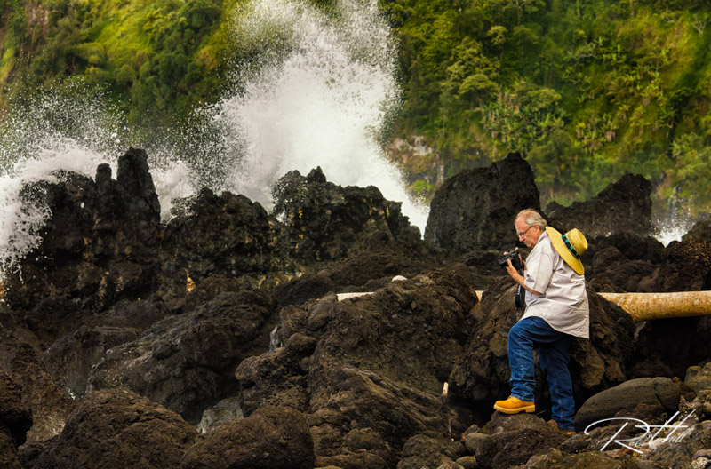 Tony photographing the rugged coast at Laupahoehoe Beach Park on the windward side of the Big Island.