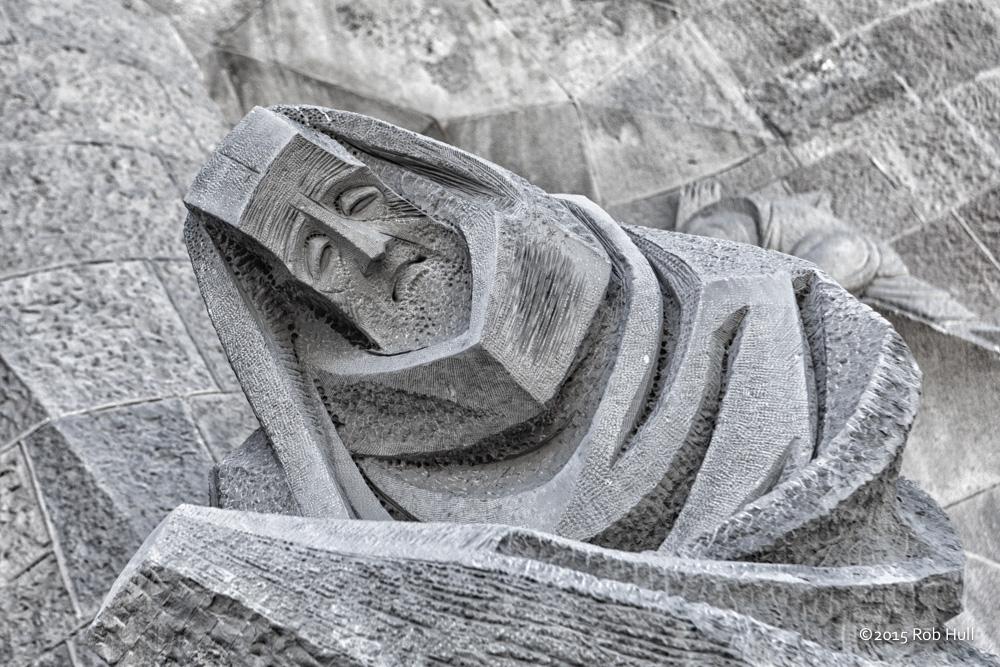 Stone carving on La Sagrada Familia in Barcelona