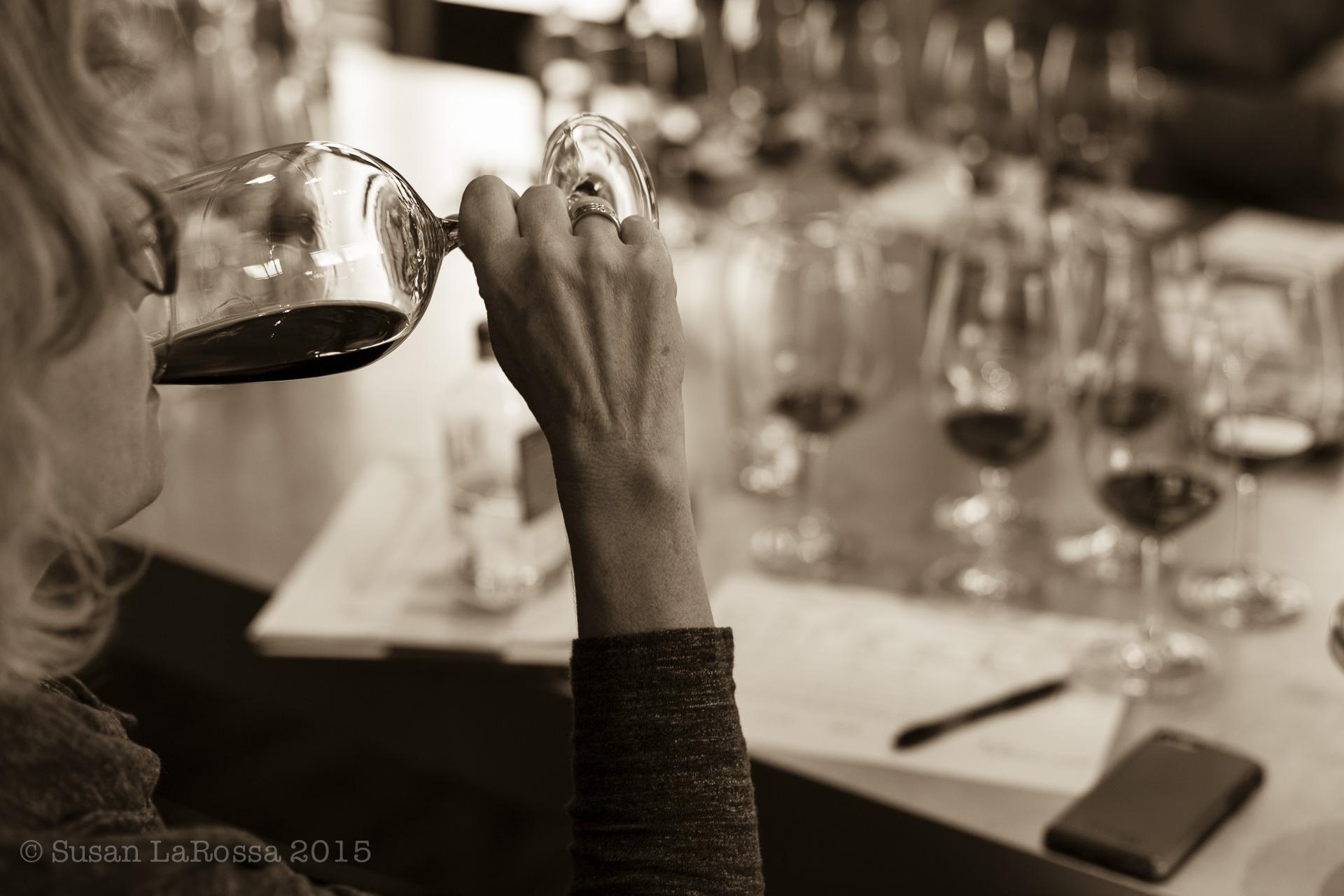 Blending the 2014 vintage wines at Meteor Vineyard